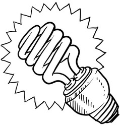 doodle light bulb green vector image vector image