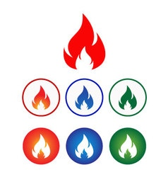 flame icon set vector image