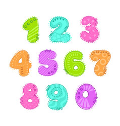 funny colorful numbers patch set vector image vector image