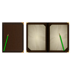 notepad in a brown leather binding vector image