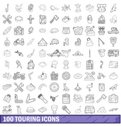 100 touring cons set outline style vector image