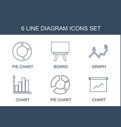 6 diagram icons vector