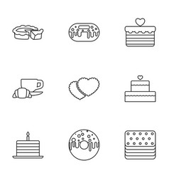 9 bakery icons vector image