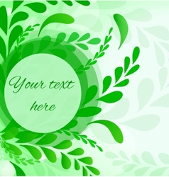 Abstract leafs background Invitation card in green vector