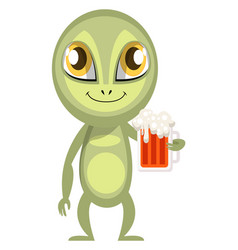 Alien with beer on white background vector