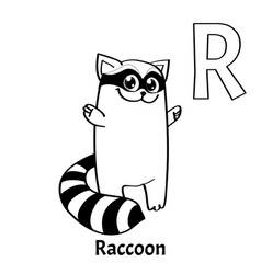 Alphabet letter r coloring page raccoon vector