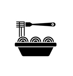 asian noodles black icon sign on isolated vector image