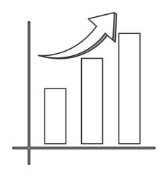 Bar graph with arrow icon vector