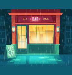 Bar shop-window entrance with beer snacks vector