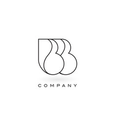 Bb monogram letter logo with thin black monogram vector