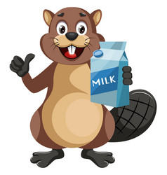 beaver with milk on white background vector image
