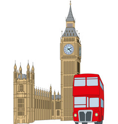 Big ben - clock tower and red bus vector
