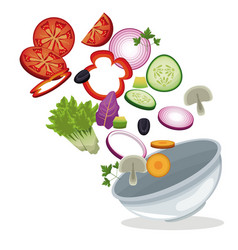 Bowl salad vegetables lunch meal image vector