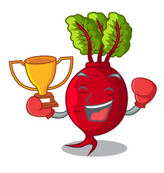 Boxing winner whole beetroots with green leaves vector