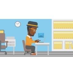 Businessman receiving or sending email vector