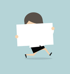 businesswoman running with white sign vector image