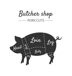 butcher shop label pork cuts farm animal with vector image