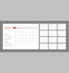 Calendar for 2021 new year in clean minimal table vector