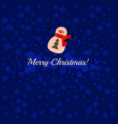 cartoon snowman on a blue background with vector image