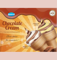 chocolate ice cream advertisement vector image