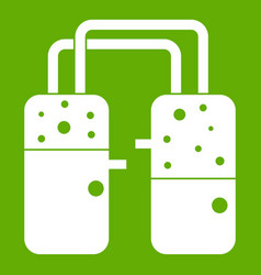 Containers connected with tubes icon green vector