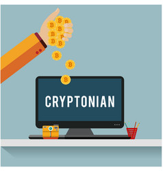 cryptonian concept hand hold golden coin computer vector image