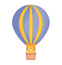 cute lion in balloon air hot childish character vector image