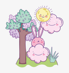 Cute pink rabbit cartoon clouds sunny day tree vector