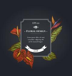 dark badge design with gloriosa anthurium vector image