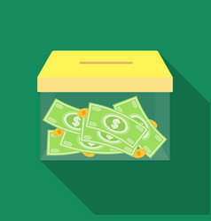 donation moneybox icon in flate style isolated on vector image