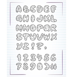 Doodle alphabet drawn on the page notebook vector