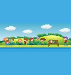 doodle children playing in park vector image
