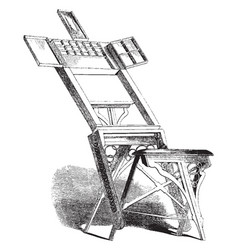 Easel has attached compartments vintage engraving vector