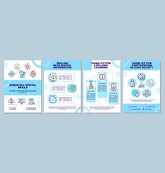 Essential digital skills brochure template vector