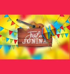 festa junina with acoustic guitar vector image