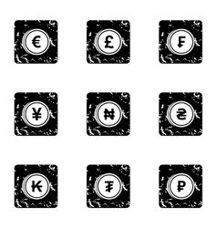 Finance icons set grunge style vector
