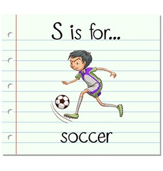 Flashcard letter S is for soccer vector