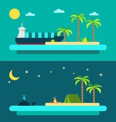 flat design summer paradise beach vector image