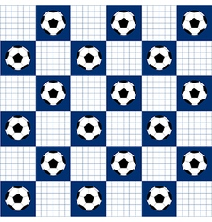 Football Ball Blue White Chess Board Background vector