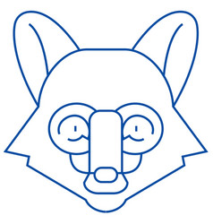 fox head line icon concept fox head flat vector image