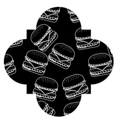 frame with hamburgers pattern background vector image