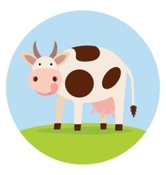 Funny cow on the field vector image