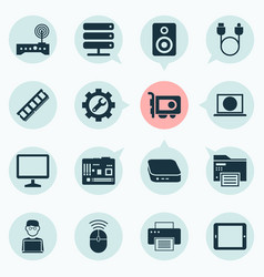 Gadget icons set with palmtop printing machine vector