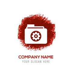 gear box icon - red watercolor circle splash vector image