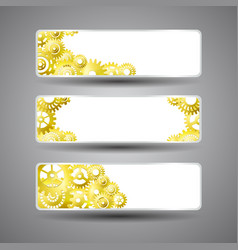 Golden gear banners set vector