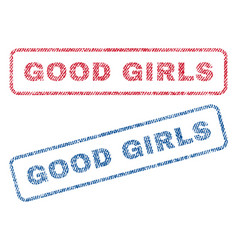 Good girls textile stamps vector