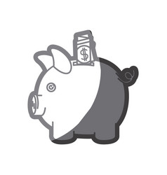Grayscale silhouette of moneybox in shape of pig vector