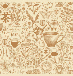 Hand-drawn seamless pattern on tea theme vector