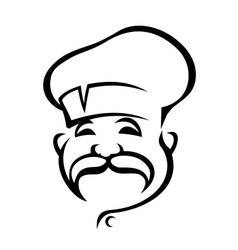 Happy chef with a droopy moustache vector image