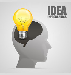 head silhouette with idea vector image